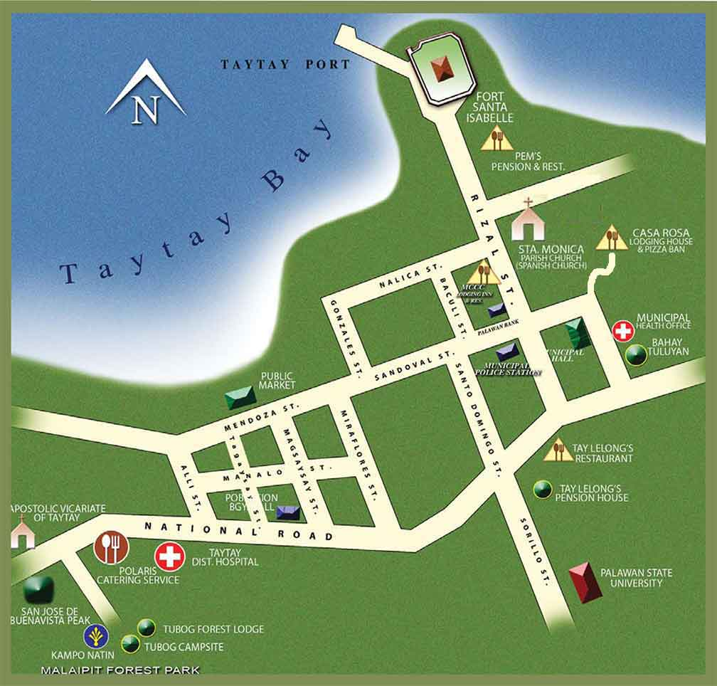 Rizal (Palawan) Philippines  city pictures gallery : Taytay Town Map Click on picture for a larger and readable image